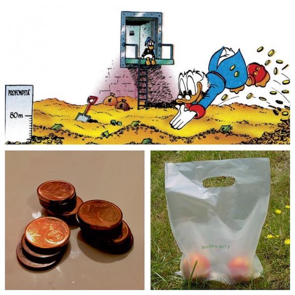 alessandro poletti deposito paperone piscina soldi centesimi sacchetti biodegradabili