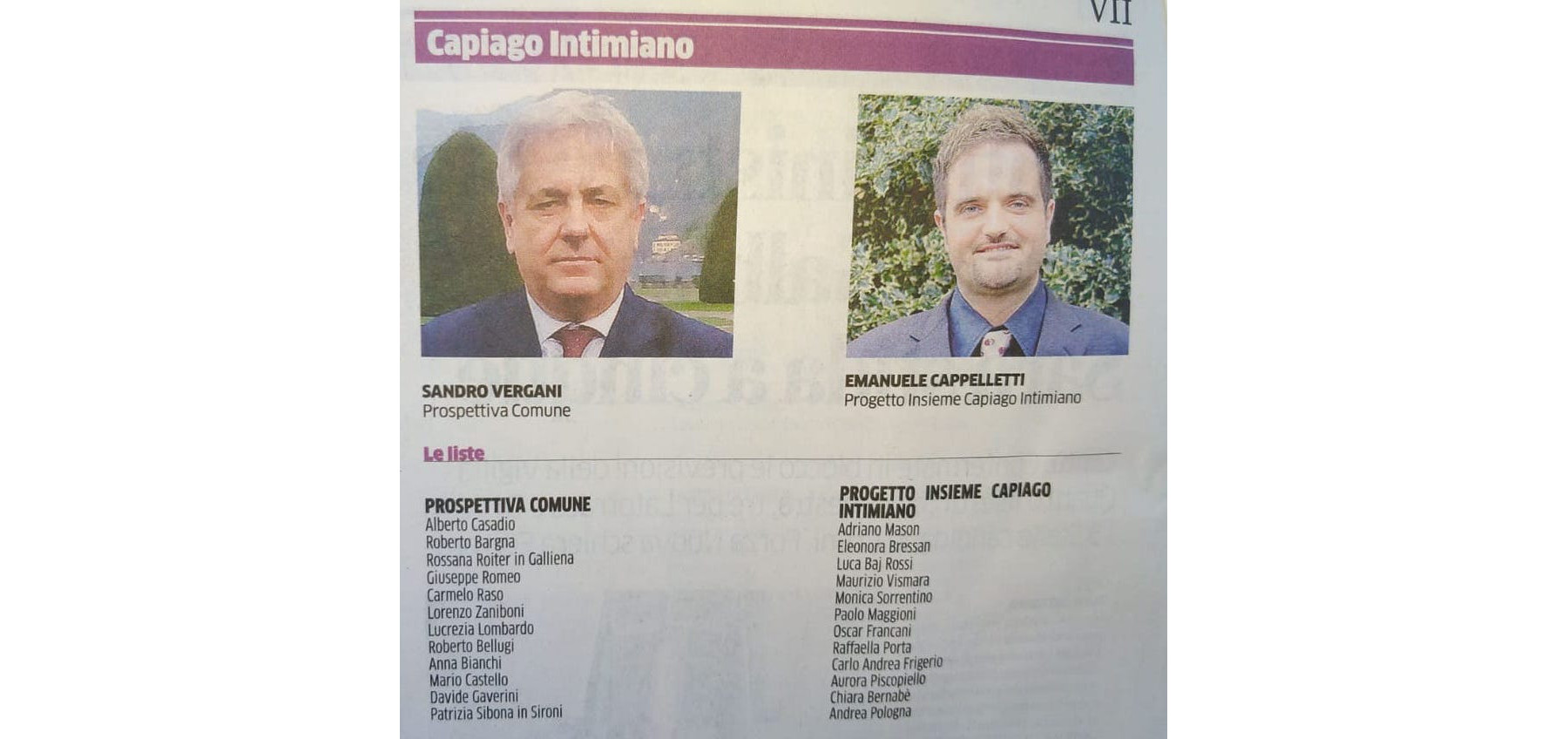 Elezioni Amministrative 2019 a Capiago Intimiano: Candidati e Liste