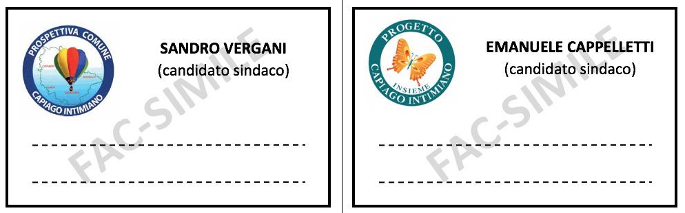 Fac-simile schede elettorali 2019 per elezioni amministrative capiago intimiano