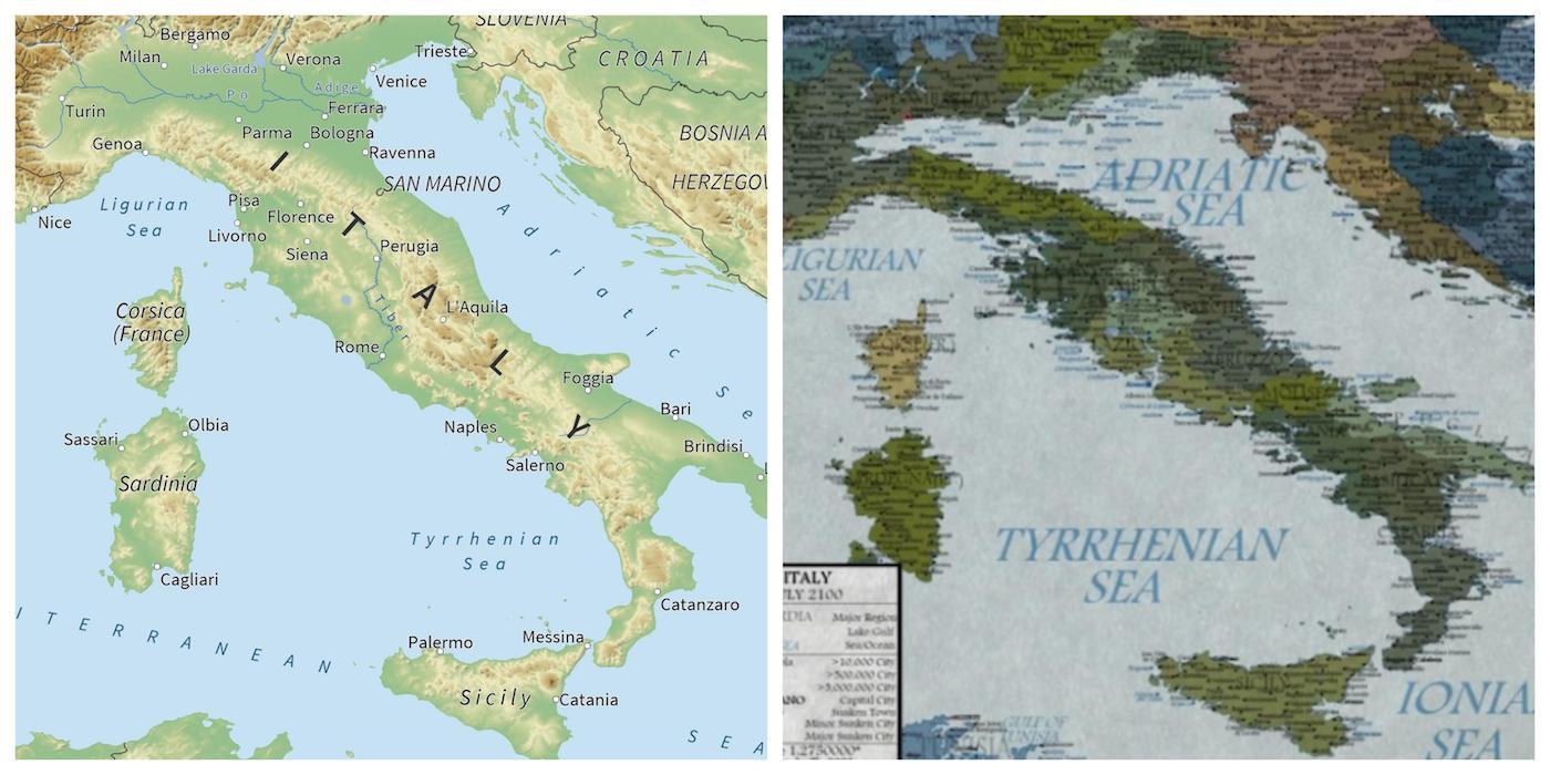 Italia sommersa dal mare? confronto tra la previsione e l'attuale