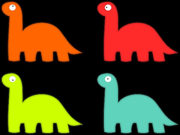 Dinosauri colorati si guardano attorno alla ricerca della razza superiore