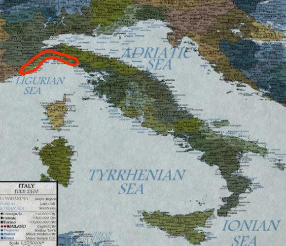 Italia sommersa nella mappa ideata da Martin Vargic