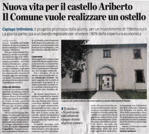 Articolo de La Provincia del 21 agosto 2019: Ostello nel Castello di Ariberto a Capiago Intimiano
