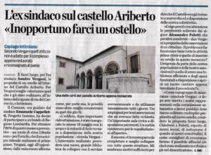 Articolo de La Provincia del 25 agosto 2019: Ostello nel Castello di Ariberto a Capiago Intimiano