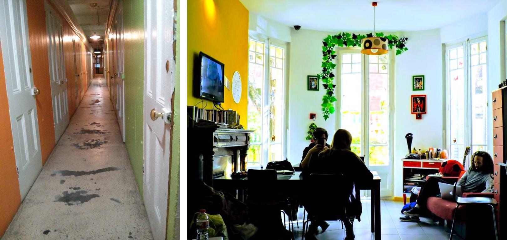 Il confronto tra ostelli: a sinistra un corridoio vecchio stile, a destra un ambiente comune moderno