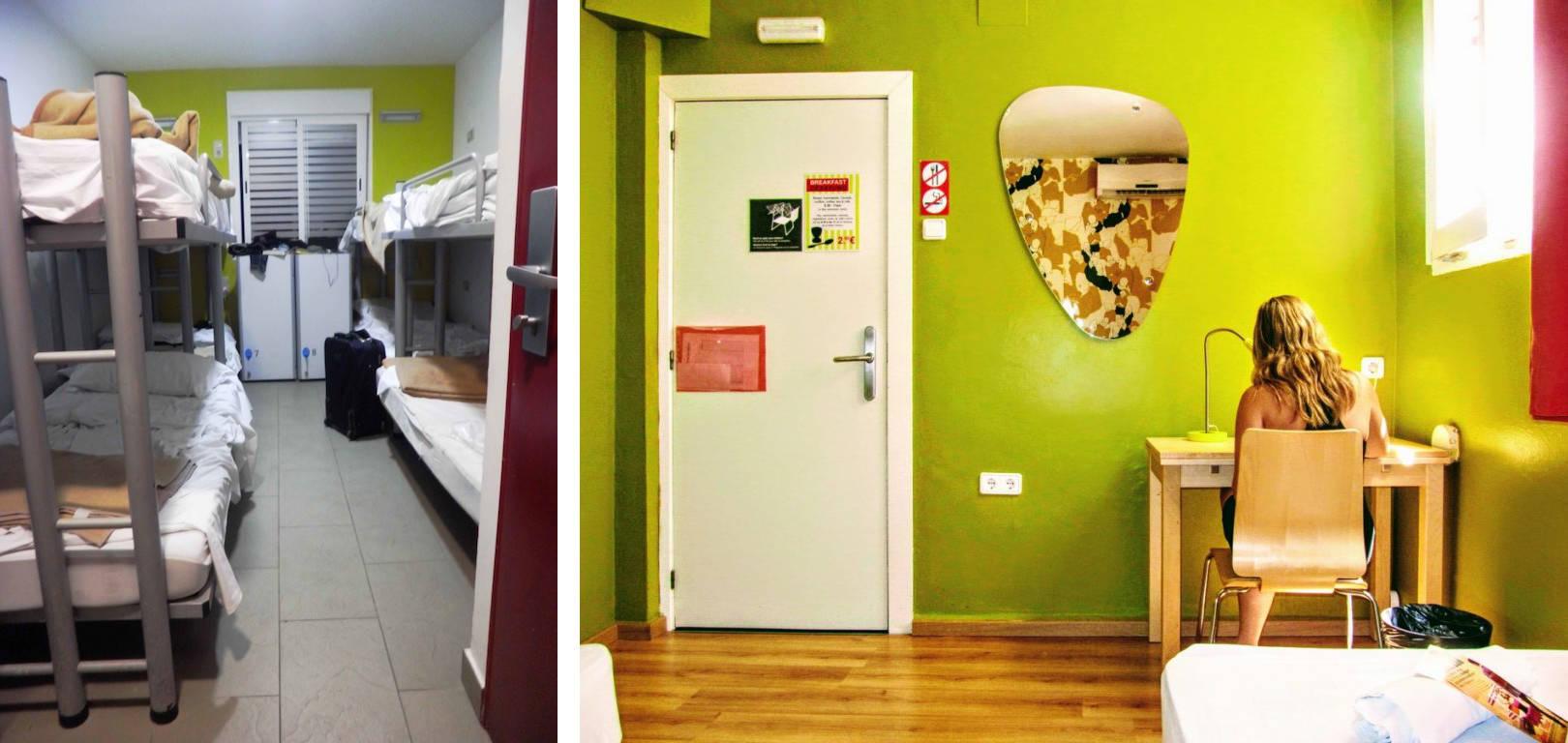 Il confronto tra ostelli: a sinistra una camera vecchio stile, a destra una camera moderna