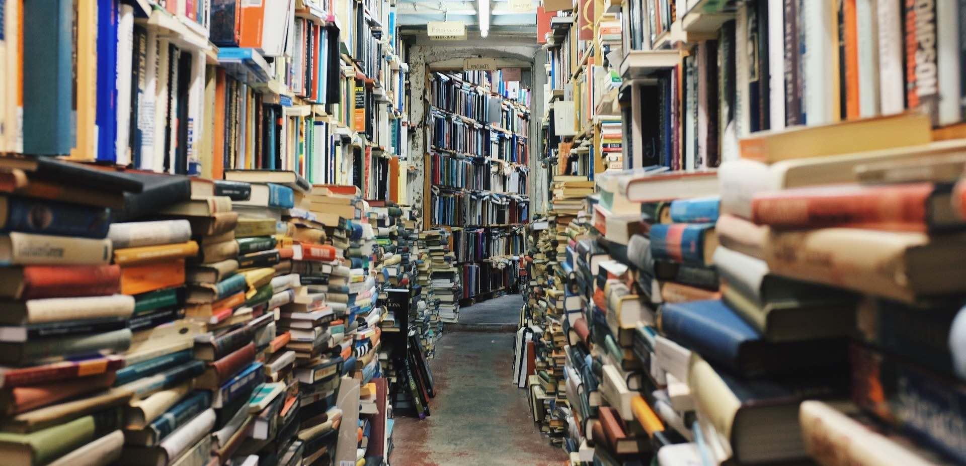Catasta di libri in biblioteca: infermiera, psicoterapeuta e informatico
