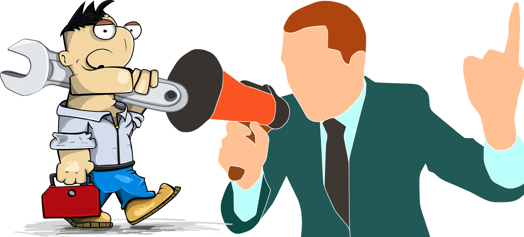 tecnico con cassetta attrezzi e politico con megafono che tiene un discorso